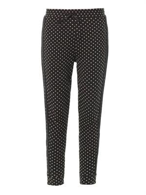 Polka-dot cotton joggers