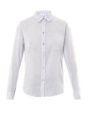 Carine striped slub-cotton shirt
