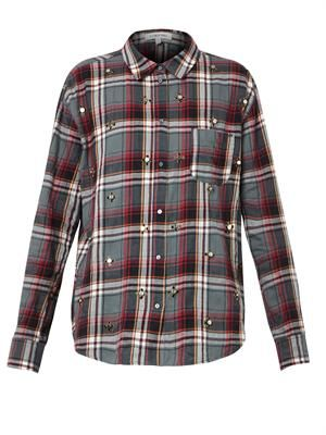 Carine embellished plaid shirt