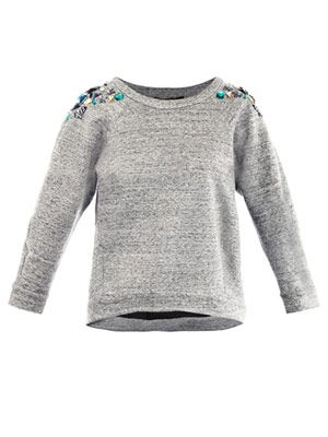 Lima jewelled-shoulder sweat-top