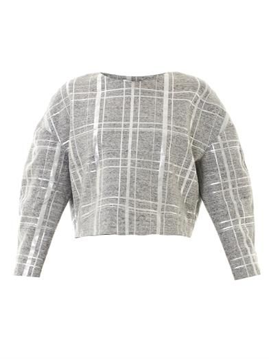Elizabeth and James Beroe metallic plaid sweatshirt