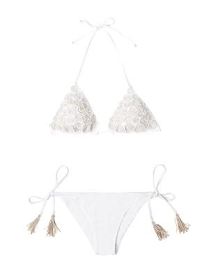 Embroidered and beaded bikini