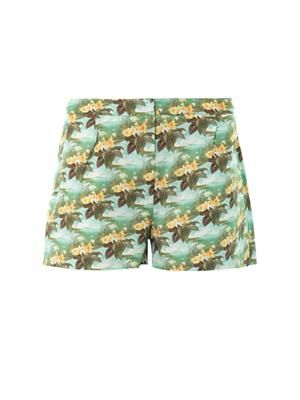 Hawaiian swan-print shorts