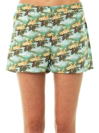 Emma Cook Hawaiian swan-print shorts