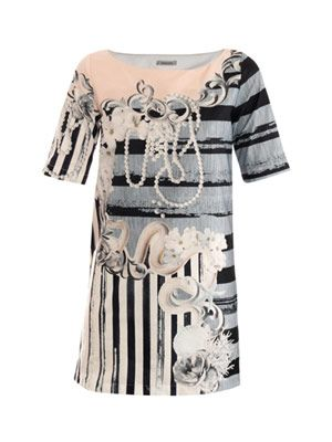 Serpent and pearl-print shift dress