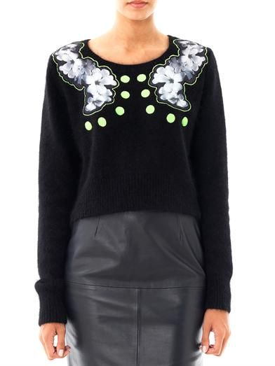 Emma Cook Floral silk appliqué sweater