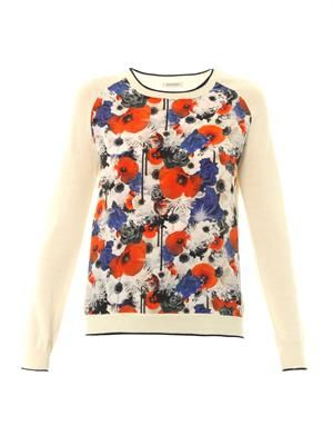Floral-print silk panel sweater