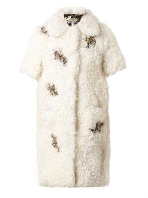 Anouk embellished shearling coat