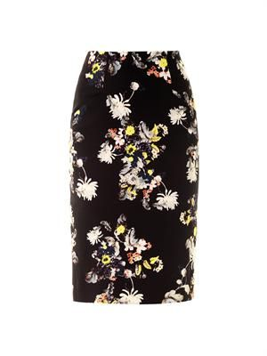 Frida Eames Garden-print pencil skirt