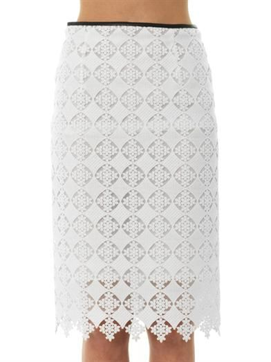Erdem Aysha diamond lace pencil skirt