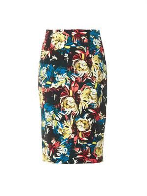 Frida trinity blossom-print pencil skirt