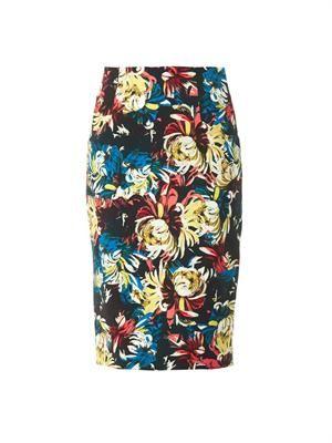 Frida trinity blossom-print pencil skirt