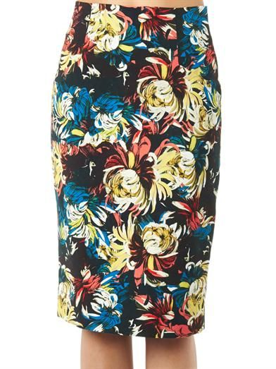 Erdem Frida trinity blossom-print pencil skirt