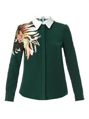 Sloane garden-print silk blouse