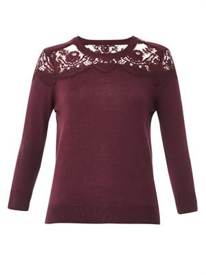 Manon lace-insert cashmere sweater
