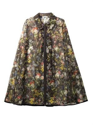Thea Velasquez Night-print organza cape