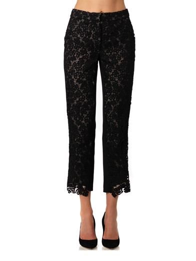 Erdem Gianna heavy-lace and silk trousers