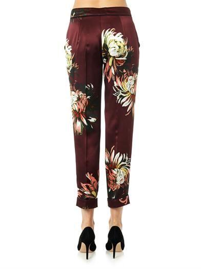 Erdem Gianna garden-print silk trousers
