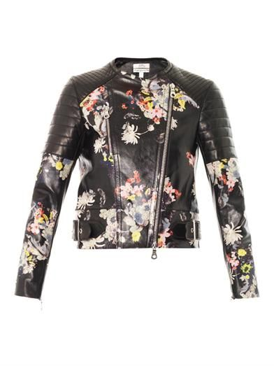 Erdem Jade Eames Garden-print leather jacket