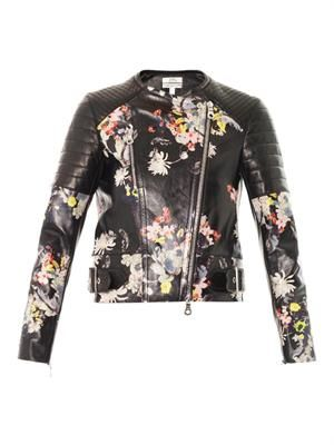 Jade Eames Garden-print leather jacket