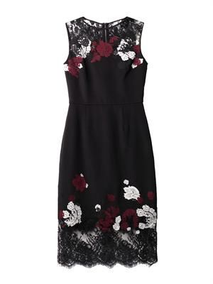 Kent floral-lace satin dress