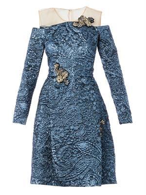 Leola embellished Lurex-jacquard dress