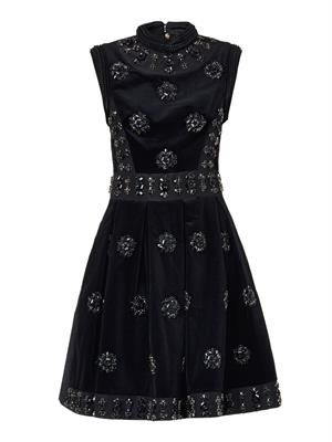 Justine crystal-embellished velvet dress