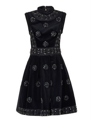 Justine crystal-embellished velvet dress