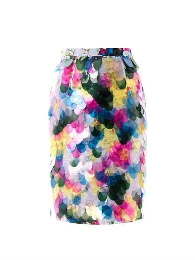 Erdem Aysha floral-print fish scale sequin skirt