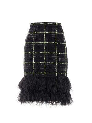 Aysha feather tweed skirt