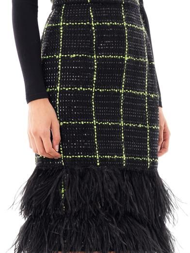 Erdem Aysha feather tweed skirt