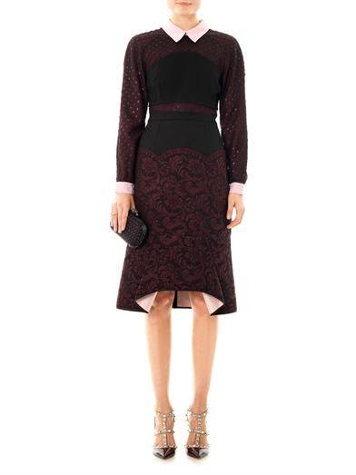 Erdem Kaila lace and crepe skirt