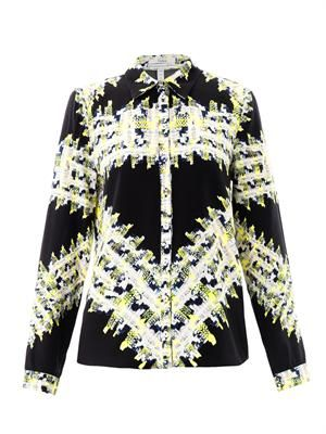 Cecilia tweed-print blouse