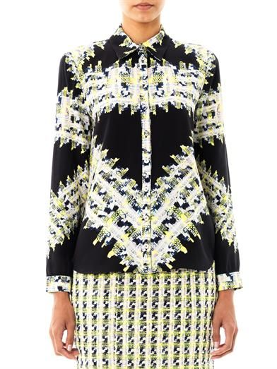 Erdem Cecilia tweed-print blouse