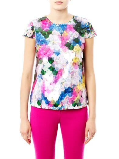 Erdem Amanie floral-print fish scale sequin blouse