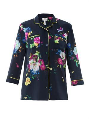 Austa Dauphine night floral-print blouse