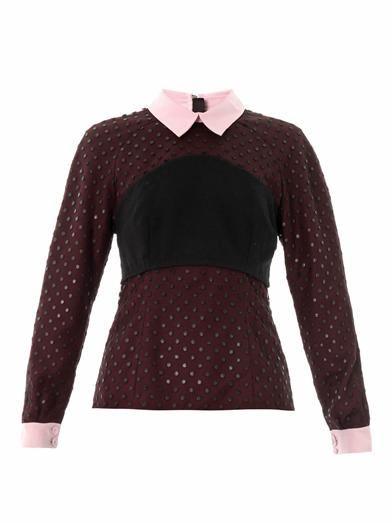 Erdem Ebony dot tulle blouse