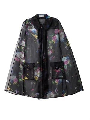 Thea Dauphine night floral organza cape