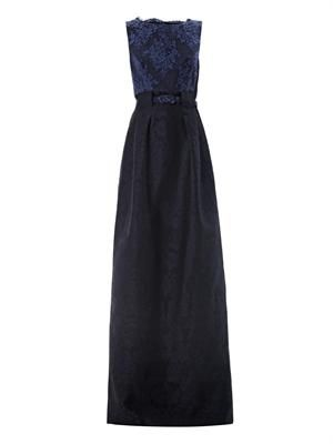 Valma floral lace and jacquard gown