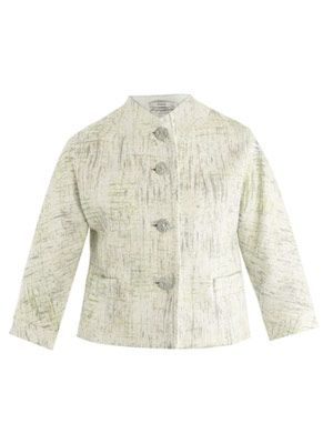 Sian painted-tweed cropped jacket