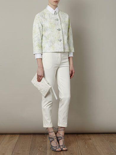 Erdem Sian painted-tweed cropped jacket