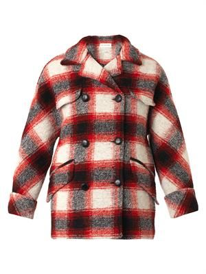 Gael double-breasted check coat