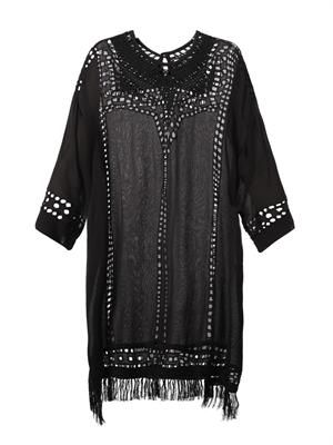 Enery broderie-anglaise crepe dress
