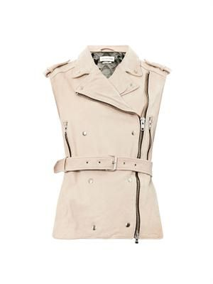 Bracken sleeveless leather biker jacket