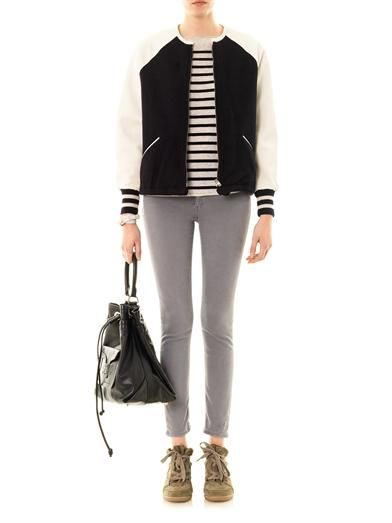 Isabel Marant Étoile Cypress leather sleeve bomber jacket