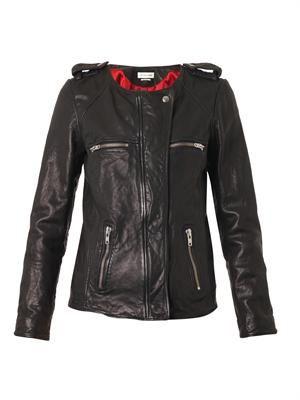Bacuri collarless leather jacket