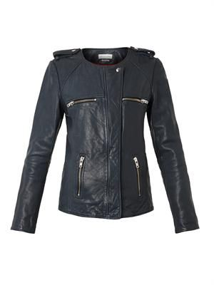 Bacuri collarless navy leather jacket