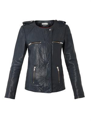 Bacuri collarless navy leather jacket