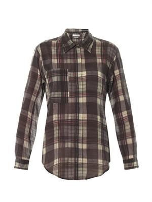 Viane organza-cotton check shirt