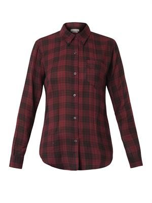 Button-down-collar checked shirt